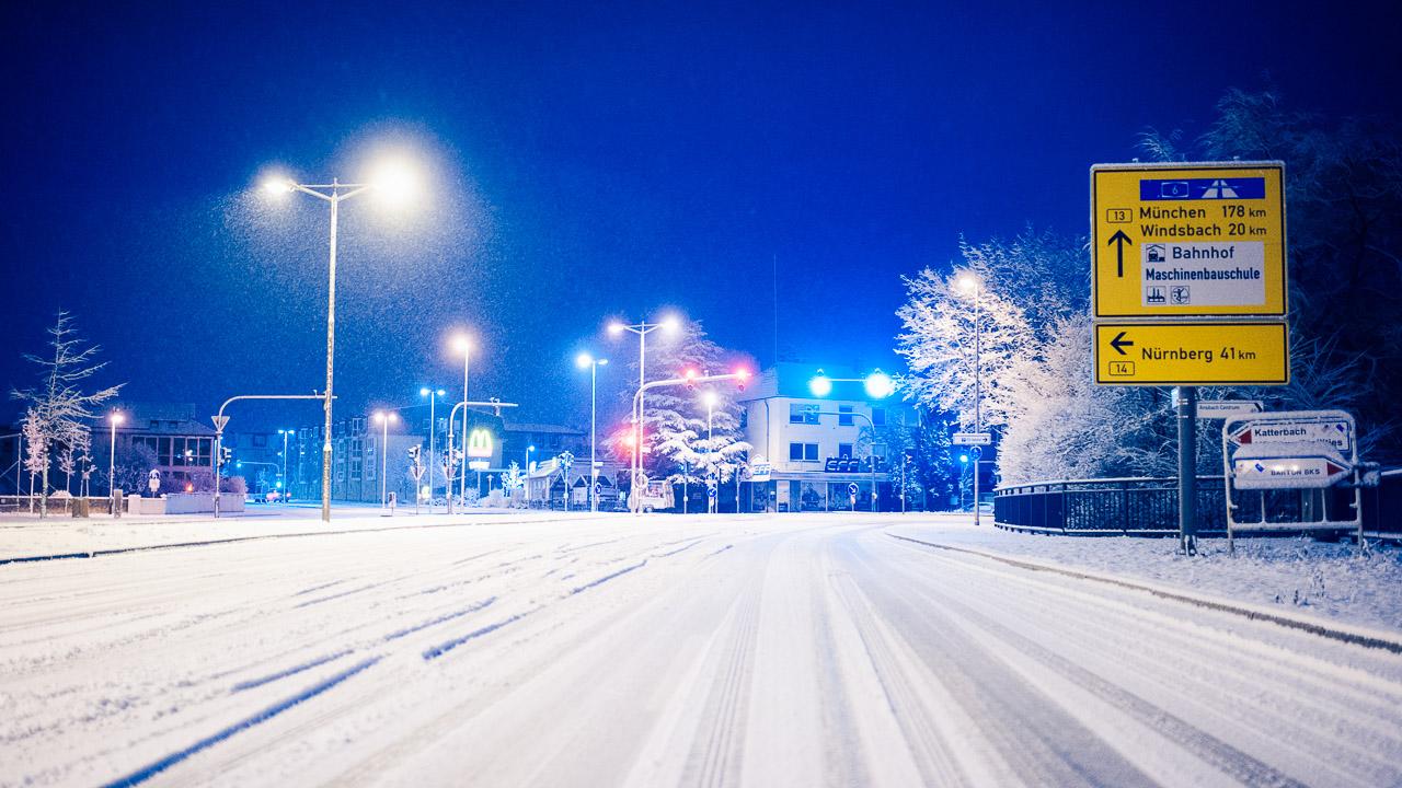 Wintereinbruch in Ansbach